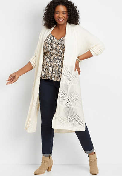 plus size placed pointelle duster cardigan