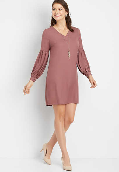 solid balloon sleeve shift dress