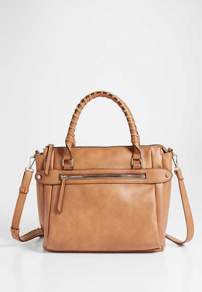 wrapped handle faux leather satchel