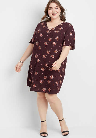 plus size floral bar back shift dress