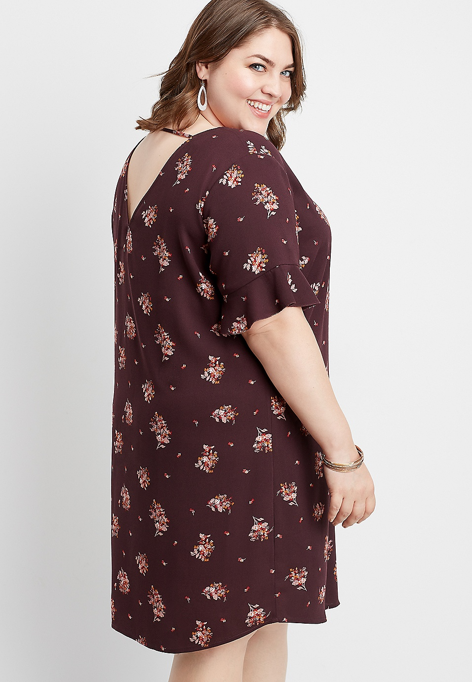plus size floral bar back shift dress