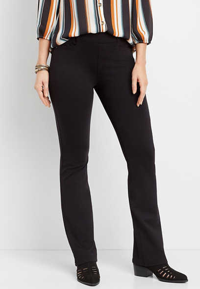 ponte knit stretchy pull on bootcut pant
