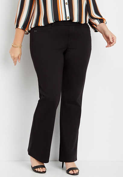 plus size black knit stretchy pull on bootcut pant