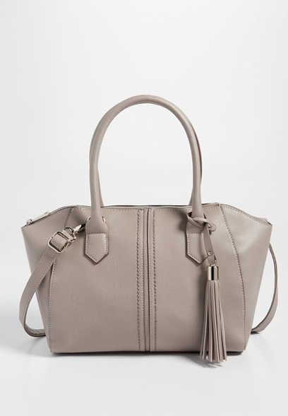 structured satchel with tassel