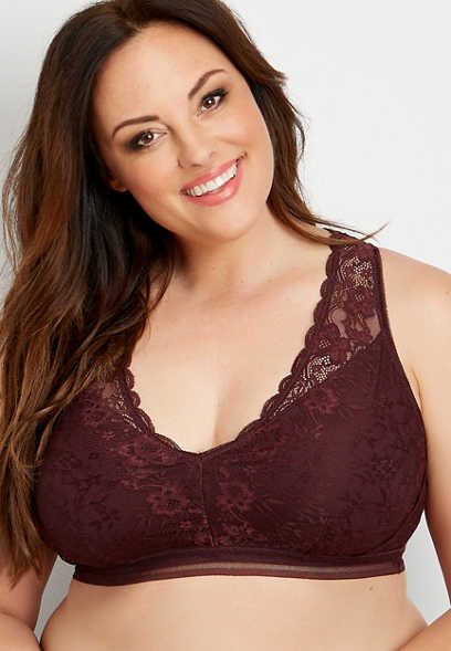 plus size lace cut out racerback bralette