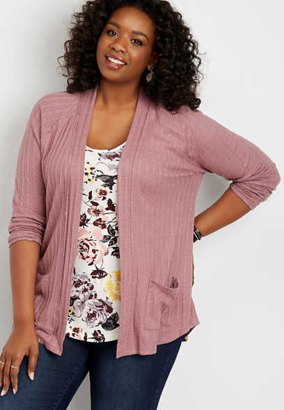 plus size button back cardigan