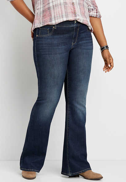 plus size DenimFlex™ dark wash flare jegging