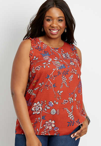 plus size floral ruffle sleeve tank