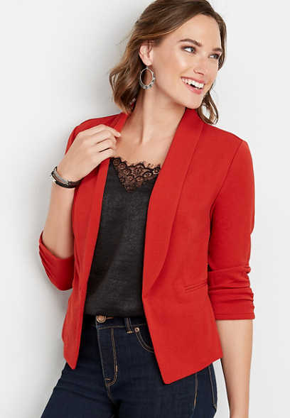solid open front blazer