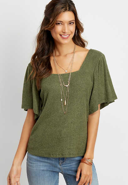 solid ribbed square neck top
