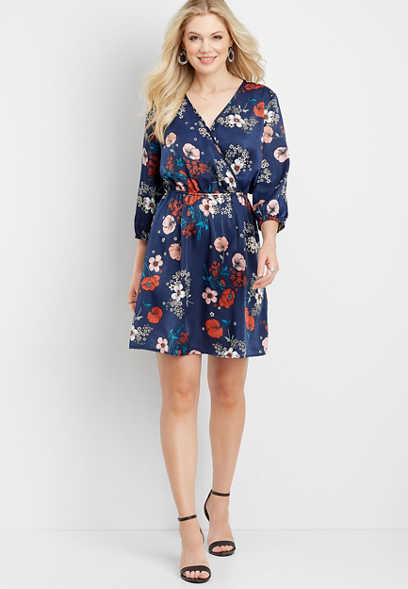 satin floral wrap dress