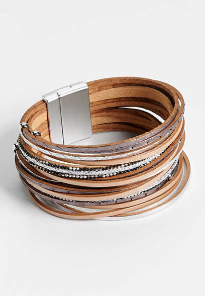 taupe combo multi row magnetic bracelet