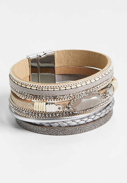 gray stone multi row magnetic bracelet