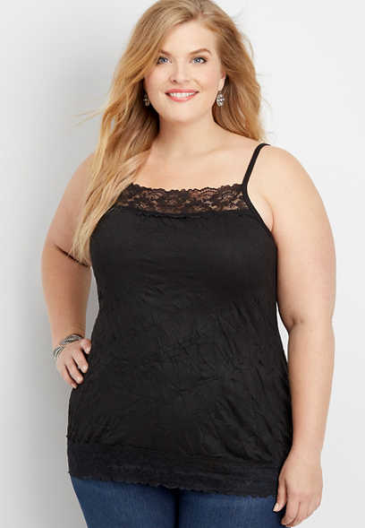 plus size solid lace crinkle cami
