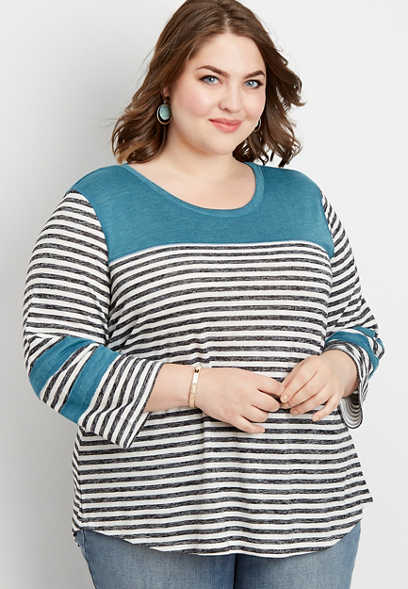 plus size 24/7 yoke blocked football tee