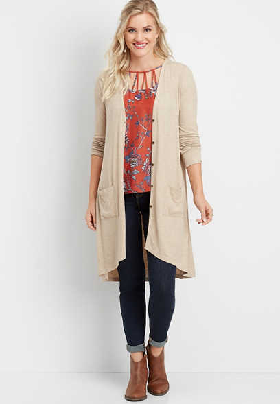 solid ribbed button down duster cardigan