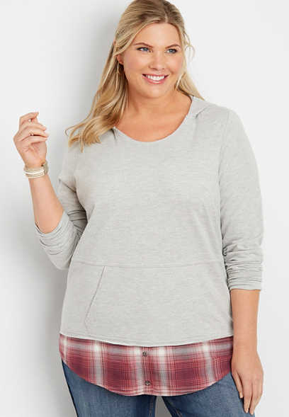 plus size hooded plaid sweatshirt