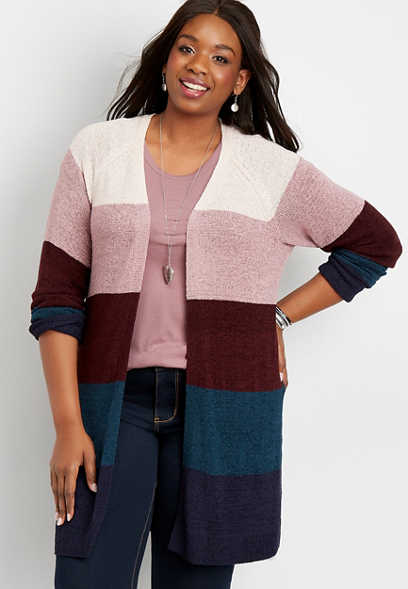 plus size striped colorblock cardigan