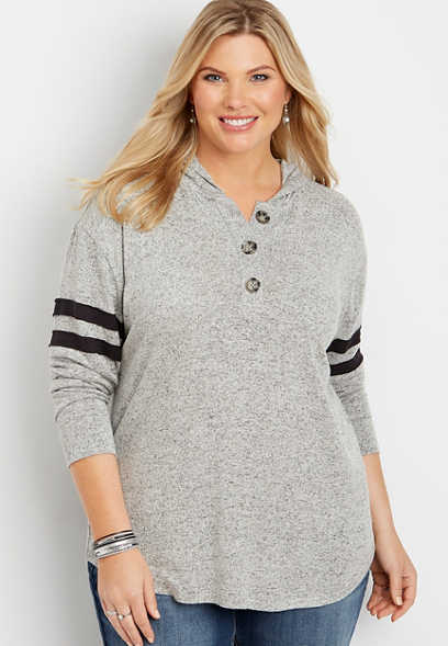 plus size henley long sleeve pullover hoodie