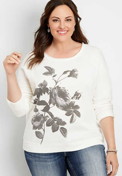 plus size floral raw edge neck pullover sweatshirt
