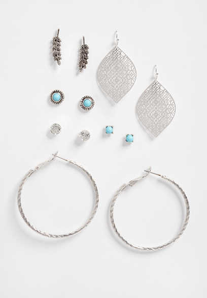 six piece turquoise earring set