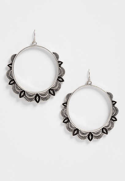 western scallop hoop earrings
