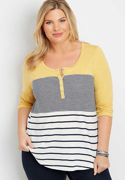 plus size 24/7 striped colorblock baseball tee