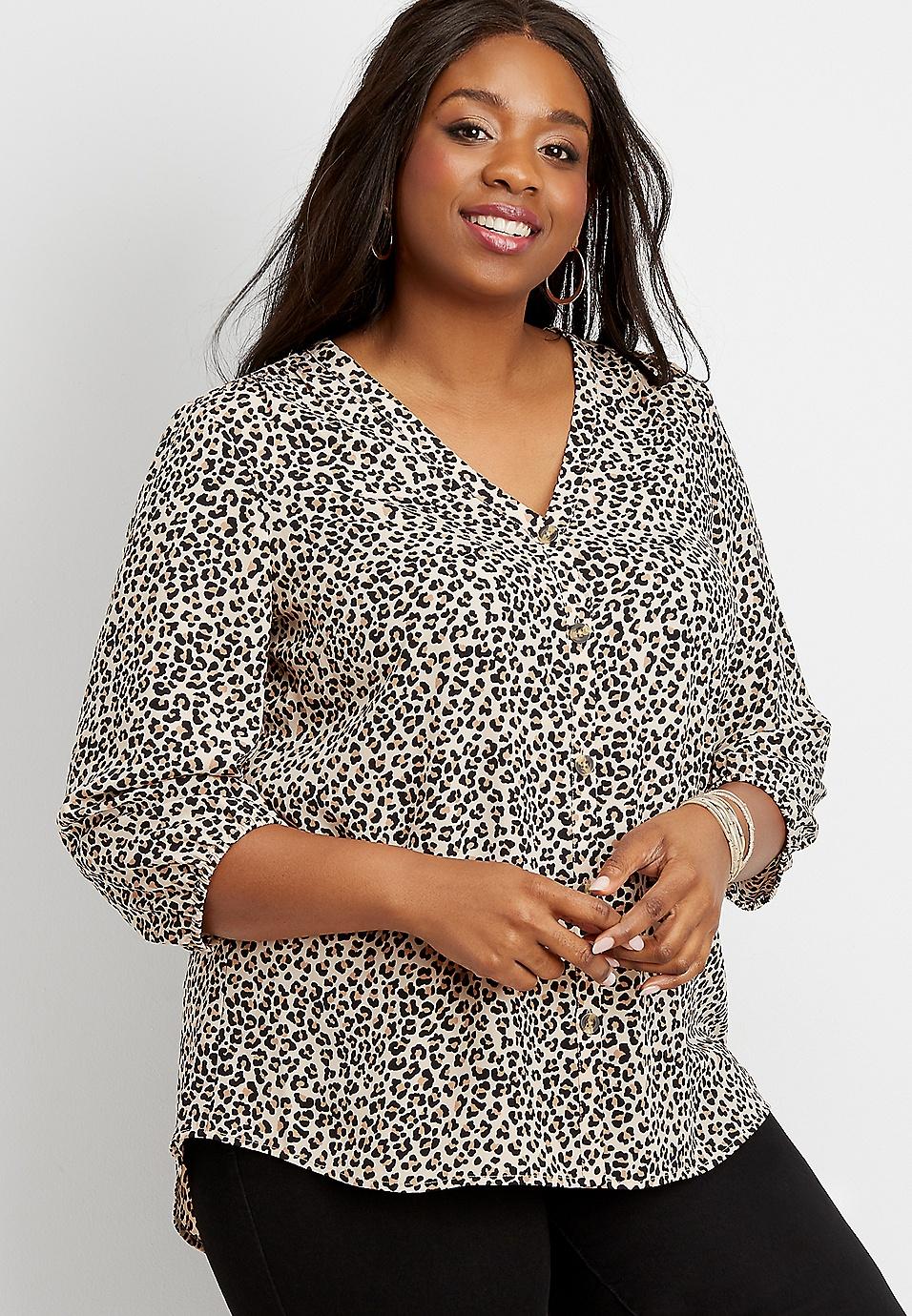 plus size leopard print button down blouse