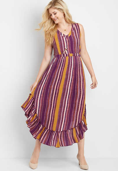 stripe high low maxi dress