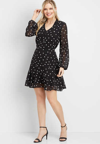dot print open back flounce hem dress