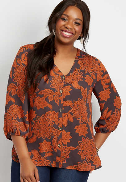 plus size floral button down blouse