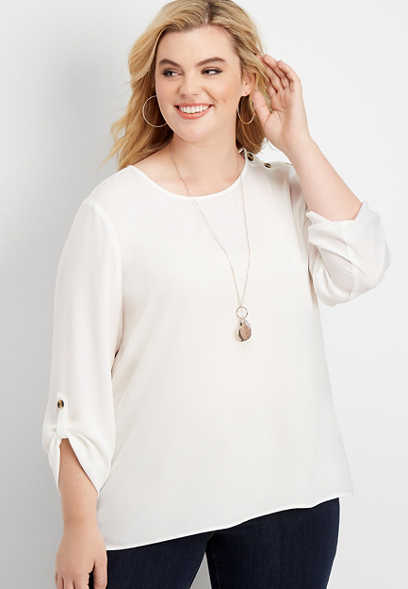 plus size solid button shoulder blouse