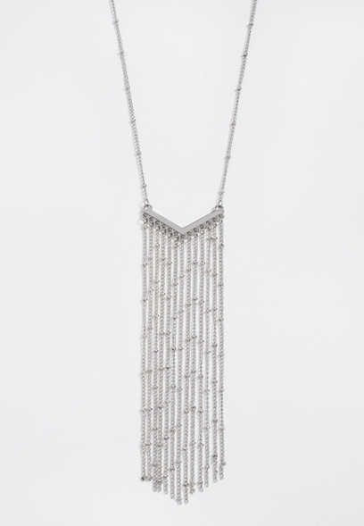 chevron fringe chain necklace
