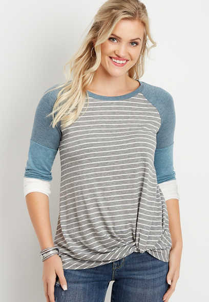 24/7 stripe side knot baseball tee