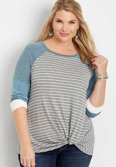 plus size 24/7 stripe side knot baseball tee