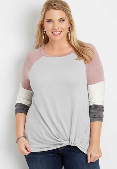 plus size 24/7 colorblock front knot baseball tee