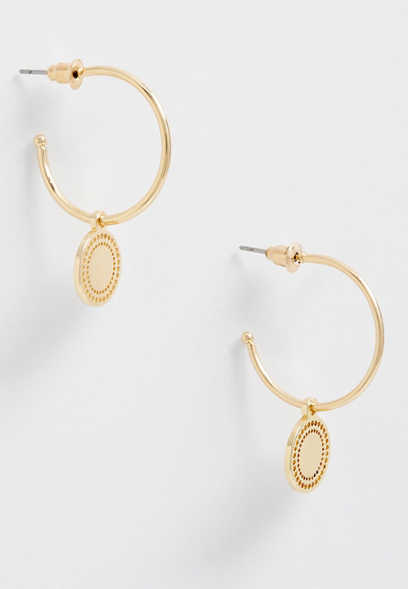 gold coin hoop earring