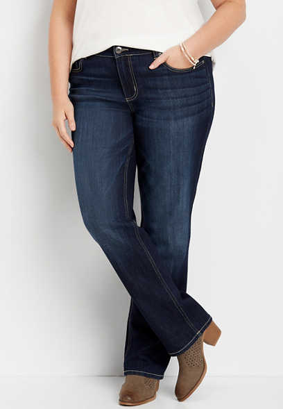 plus size DenimFlex™ dark wash straight leg jean