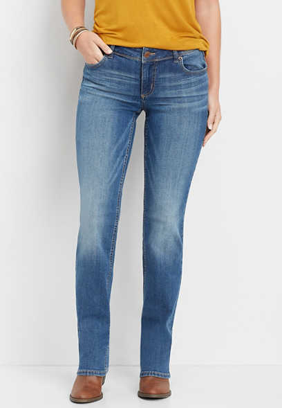 medium wash straight jean