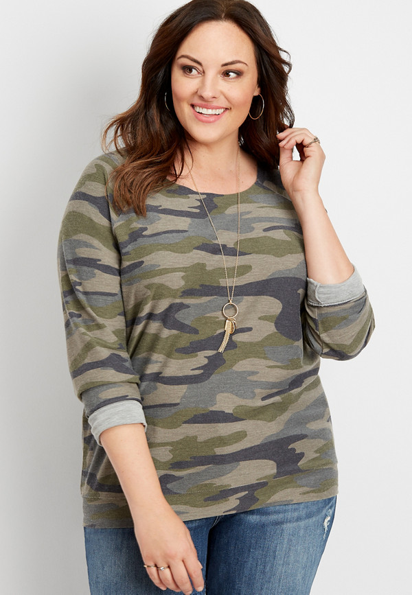 plus size raw edge neck camo pullover   maurices