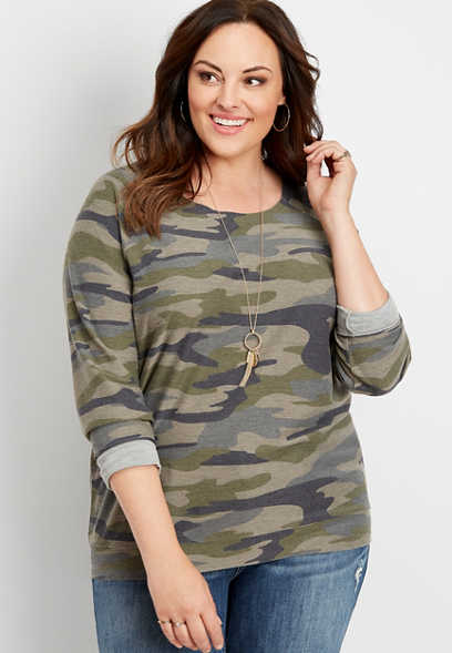 plus size raw edge neck camo pullover