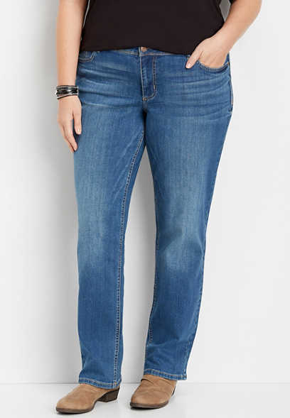 plus size medium wash straight leg jean