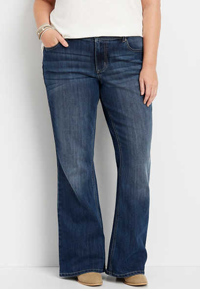 plus size DenimFlex™ dark wash flare jean
