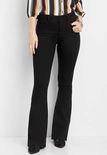 Everflex™ high rise black stretch flare jean