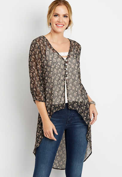 high low button front kimono