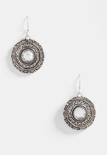 crystal stone medallion earrings