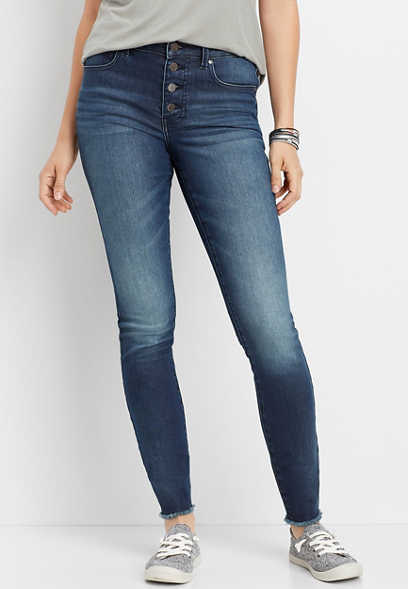 Everflex™ high rise button fly stretch super skinny jean