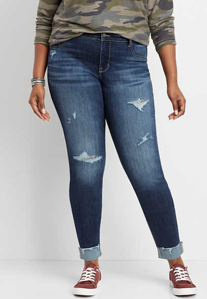 plus size DenimFlex™ mid rise dark destructed jegging