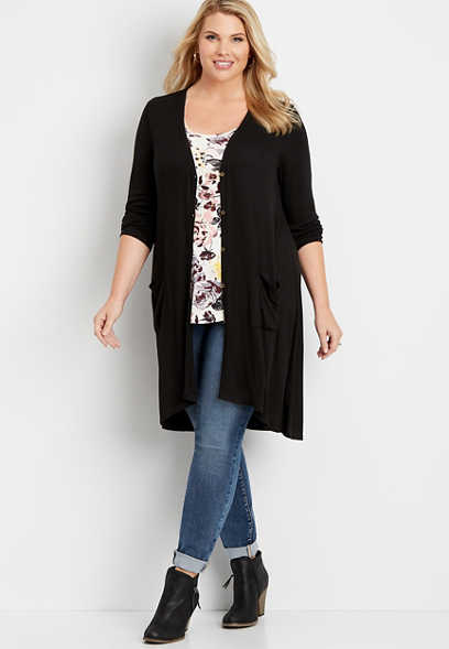 plus size solid ribbed button down duster cardigan