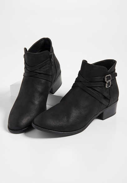 Raven cross strap ankle bootie